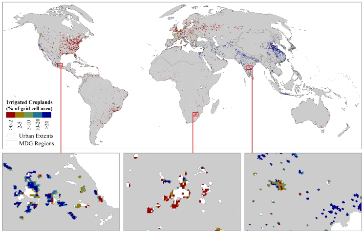 Global map of irrigated and rainfed urban croplands with examples from three world regions
