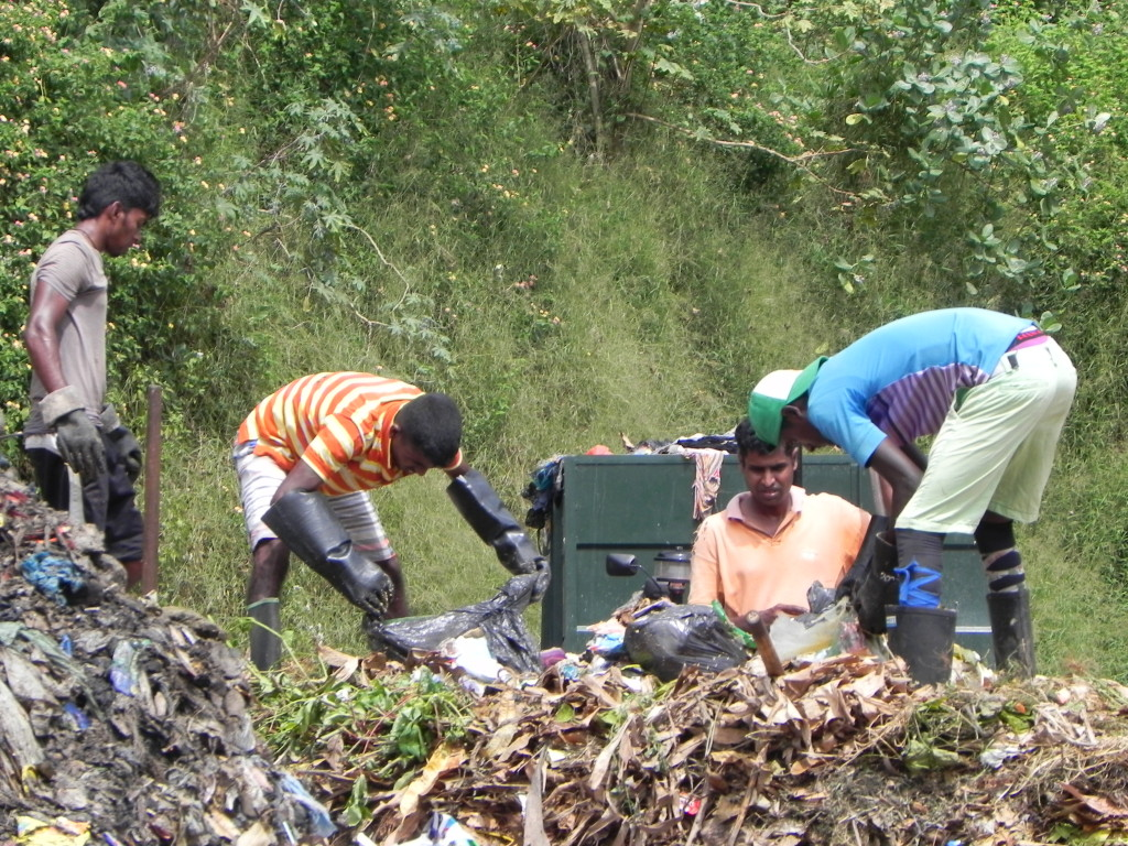 2.Organic waste is made into piles. Recyclable inorganic material is sold and the non-recyclables are sent to landfill. Organic material is made into different piles and turned over periodically for about two months to aerate the compost and increase decomposition.