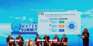 Dr Claudia Sadoff with the panel of speakers at the Budapest Water Summit 2019